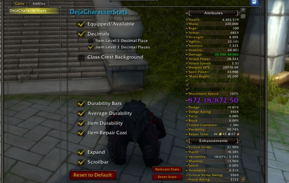 DejaCharacterStats - Class - World of Warcraft Addons - Curse